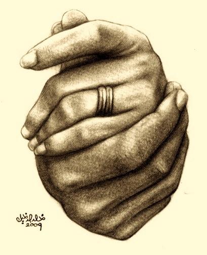 Hands Held Together Drawing Together