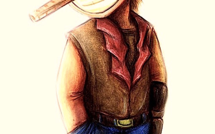 Cowboy watercolour painting
