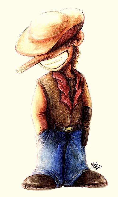 Cowboy watercolour painting